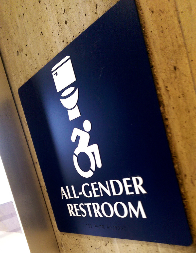 an all gender restroom sign in rockefellerphoto by corey maher